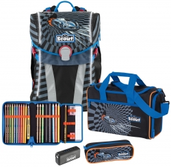 Scout Limited Edition Safety Light Sunny Power Car Schulranzen Set 4 teilig
