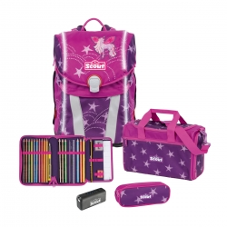Scout Limited Edition Safety Light Sunny Unicorn Star Schulranzen Set 4 teilig
