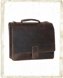 aunts and uncles Hunter Stan 1-Kammer Aktentasche mit 15  Laptopfach dark brown