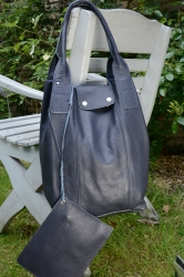 Oakwood Closed Leder Tasche Shopping-Bag navy